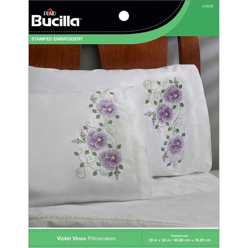 Bucilla ® Stamped Cross Stitch & Embroidery - Pillowcase Pairs - Violet Vines - 47933E