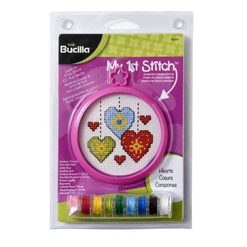 Bucilla ® My 1st Stitch™ - Counted Cross Stitch Kits - Mini - Hearts - 46344