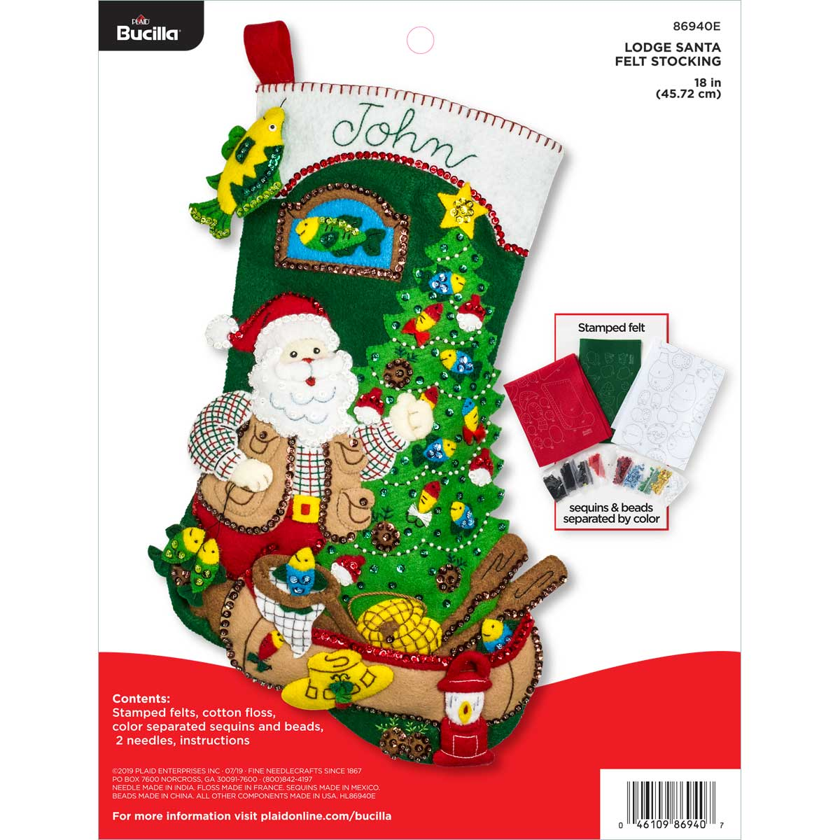 Bucilla ® Seasonal - Felt - Stocking Kits - Lodge Santa - 86940E
