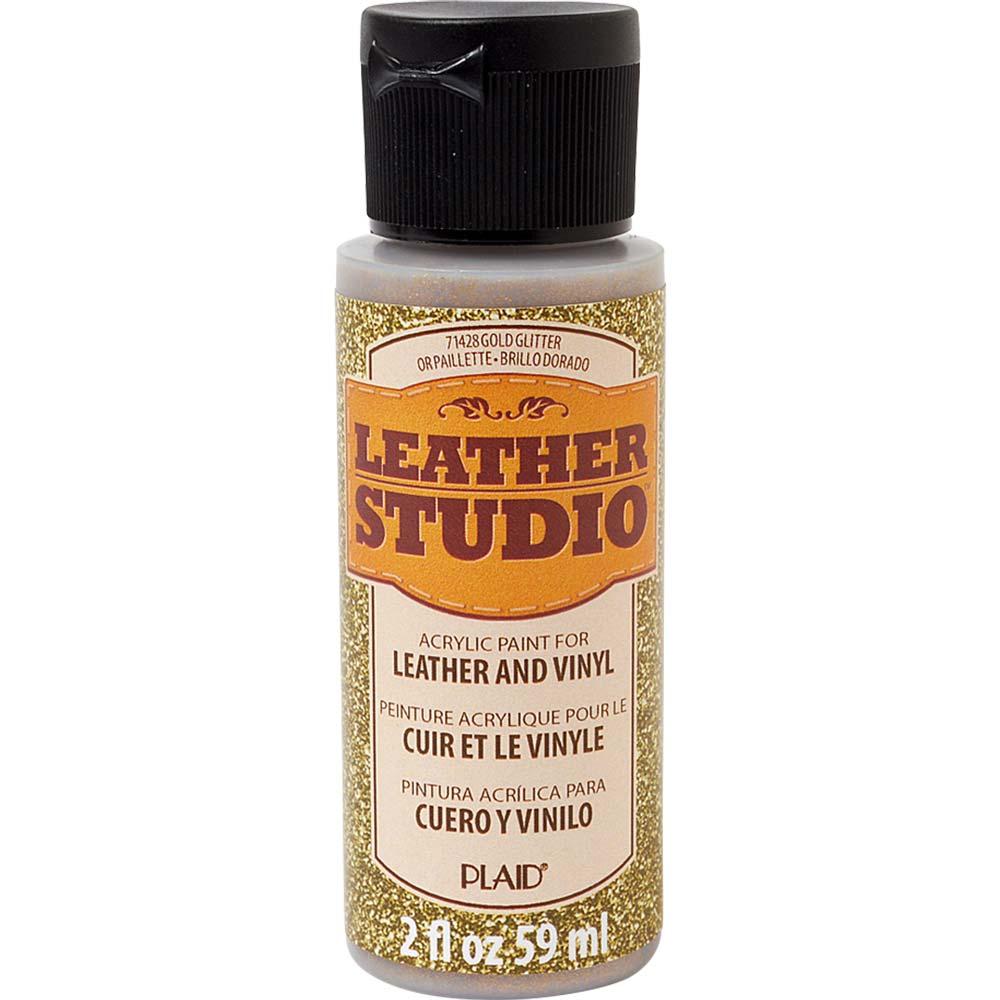 Leather Studio™ Leather & Vinyl Paint Colors - Glitter Gold, 2 oz. - 71428