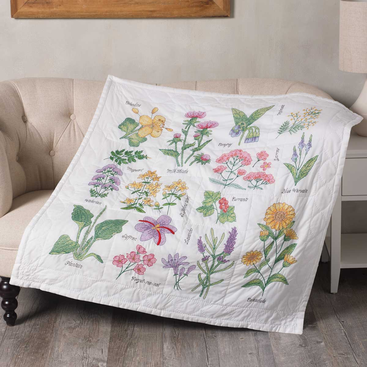 Bucilla ® Stamped Cross Stitch - Lap Quilts - Wildflower Botanical