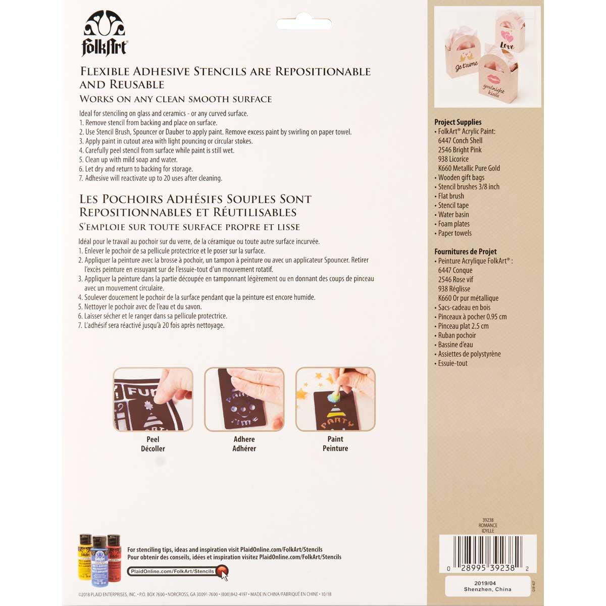 FolkArt ® Laser Cut Adhesive Stencils - Romance - 39238