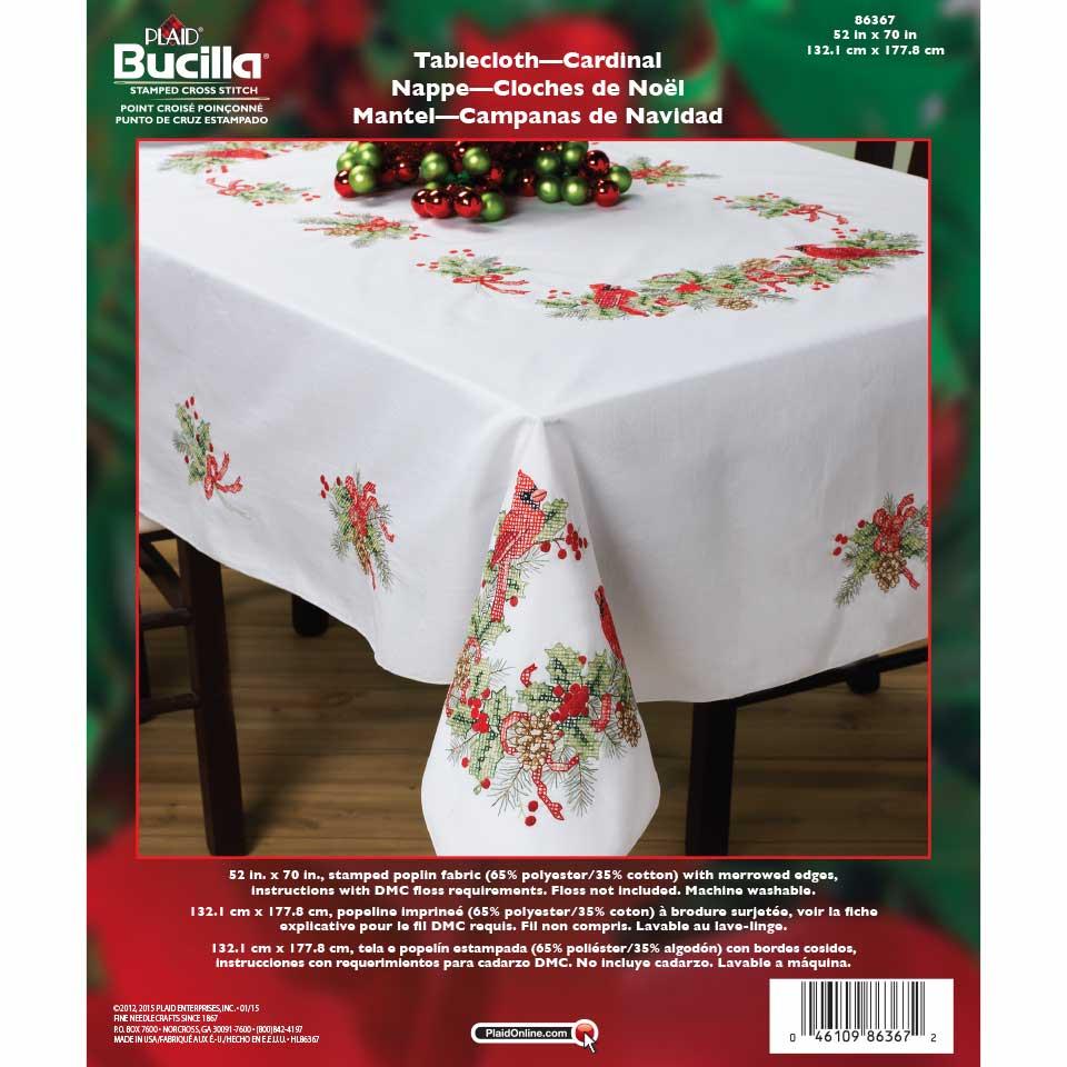 Bucilla ® Seasonal   Stamped Cross Stitch   Table Ensembles   Cardinals    Tablecloth, 52