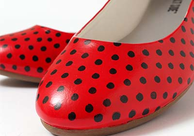 Leather Studio Red Polka Dot Flats