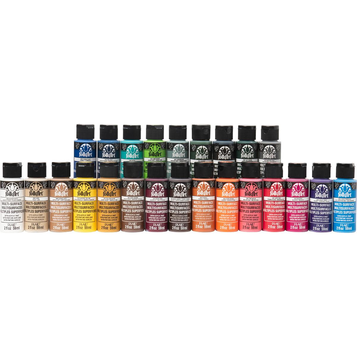 FolkArt ® One Stroke™ Multi-Surface Top 24 Colors Paint Set - 99222