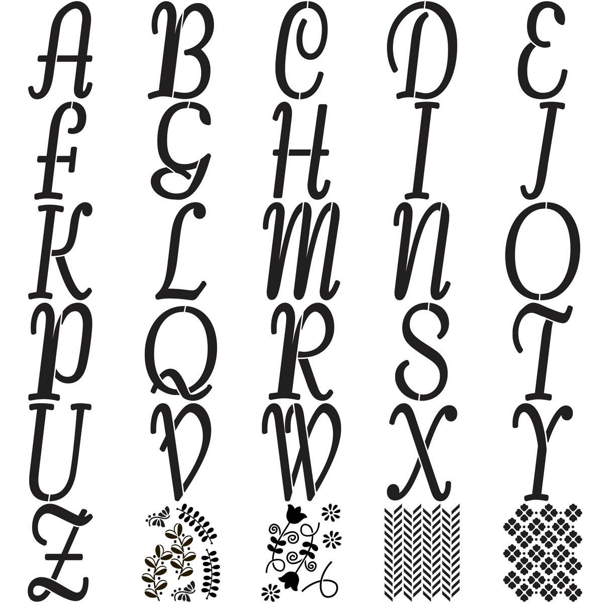 FolkArt ® Alphabet & Monogram Paper Stencils - Italic Font, 7