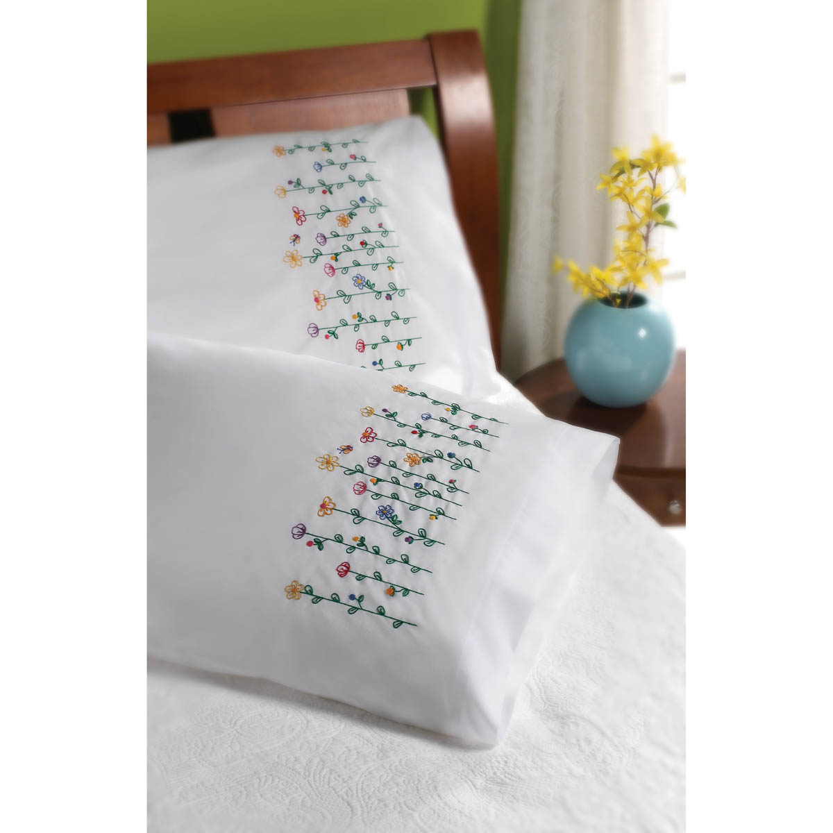 Bucilla ® Special Edition - Stamped Cross Stitch - Pillowcase Pairs - Tall Flowers