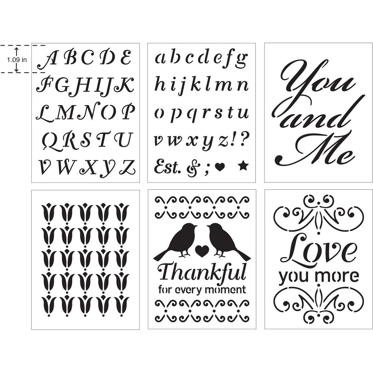 FolkArt ® Craft Stencils - Value Packs - Romance