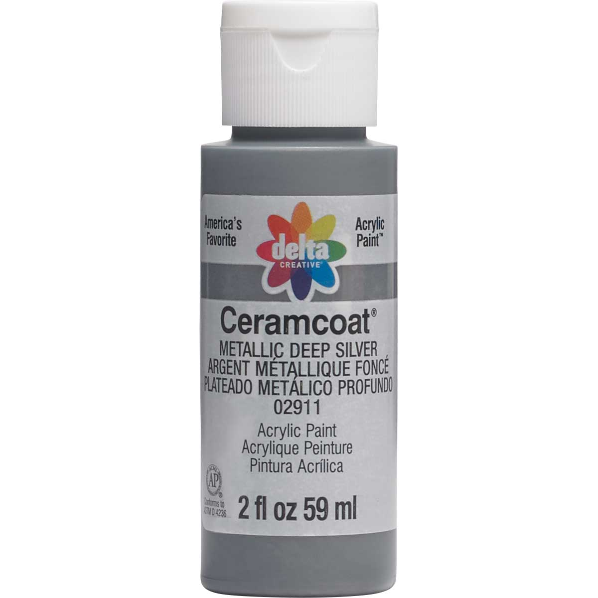Delta Ceramcoat ® Acrylic Paint - Metallic Deep Silver, 2 oz.