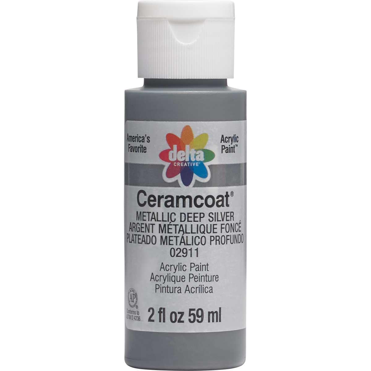 Delta Ceramcoat ® Acrylic Paint - Metallic Deep Silver, 2 oz. - 02911