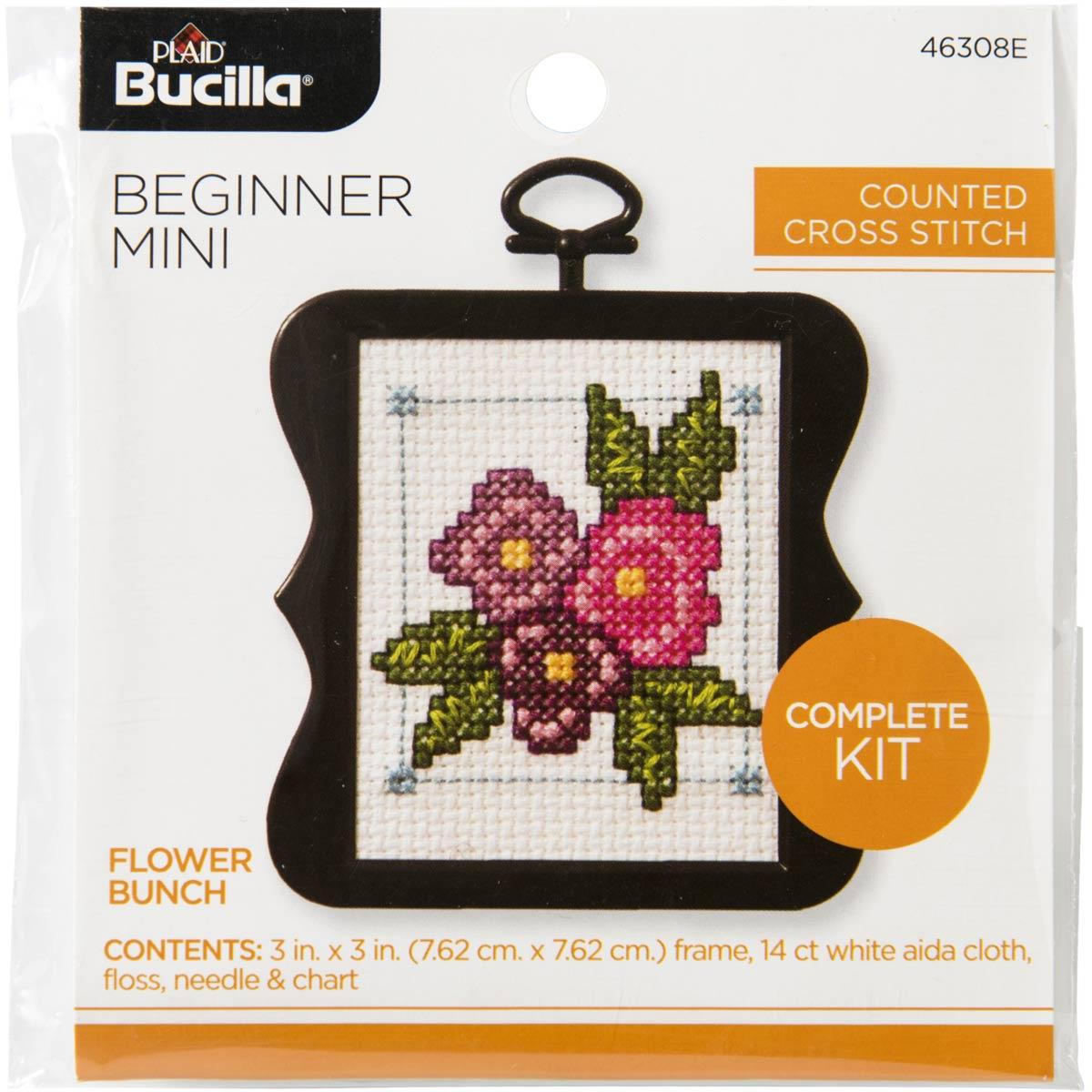 Bucilla ® Counted Cross Stitch - Beginner Stitchery - Mini - Flower Bunch - 46308E