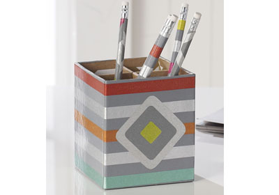 Wrapping Paper Pencil Holder with Mod Podge