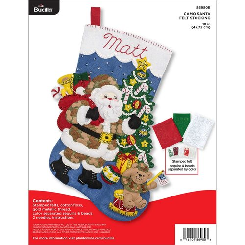 Bucilla ® Seasonal - Felt - Stocking Kits - Camo Santa - 86980E
