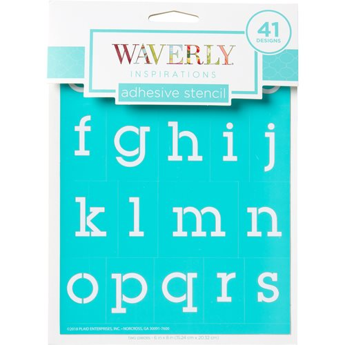 "Waverly ® Inspirations Laser-cut Adhesive Stencils - Lowercase Serif Alphabet, 6"" x 8"" - 22767E"