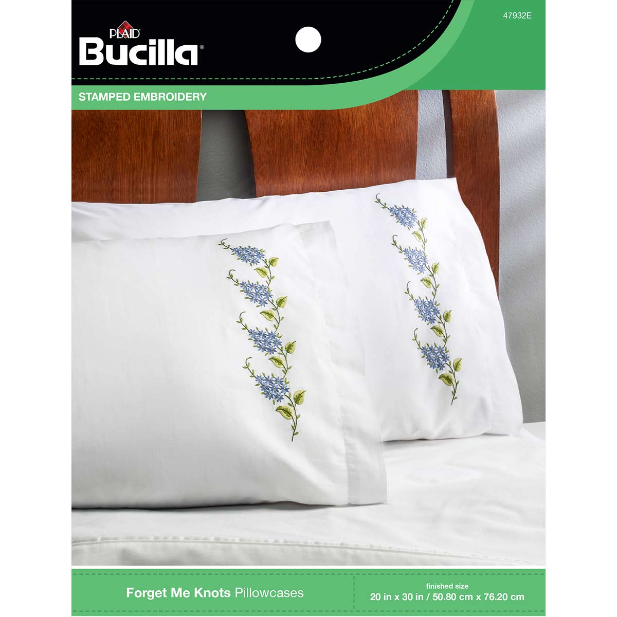 Bucilla ® Stamped Cross Stitch & Embroidery - Pillowcase Pairs - Forget Me Knots - 47932E