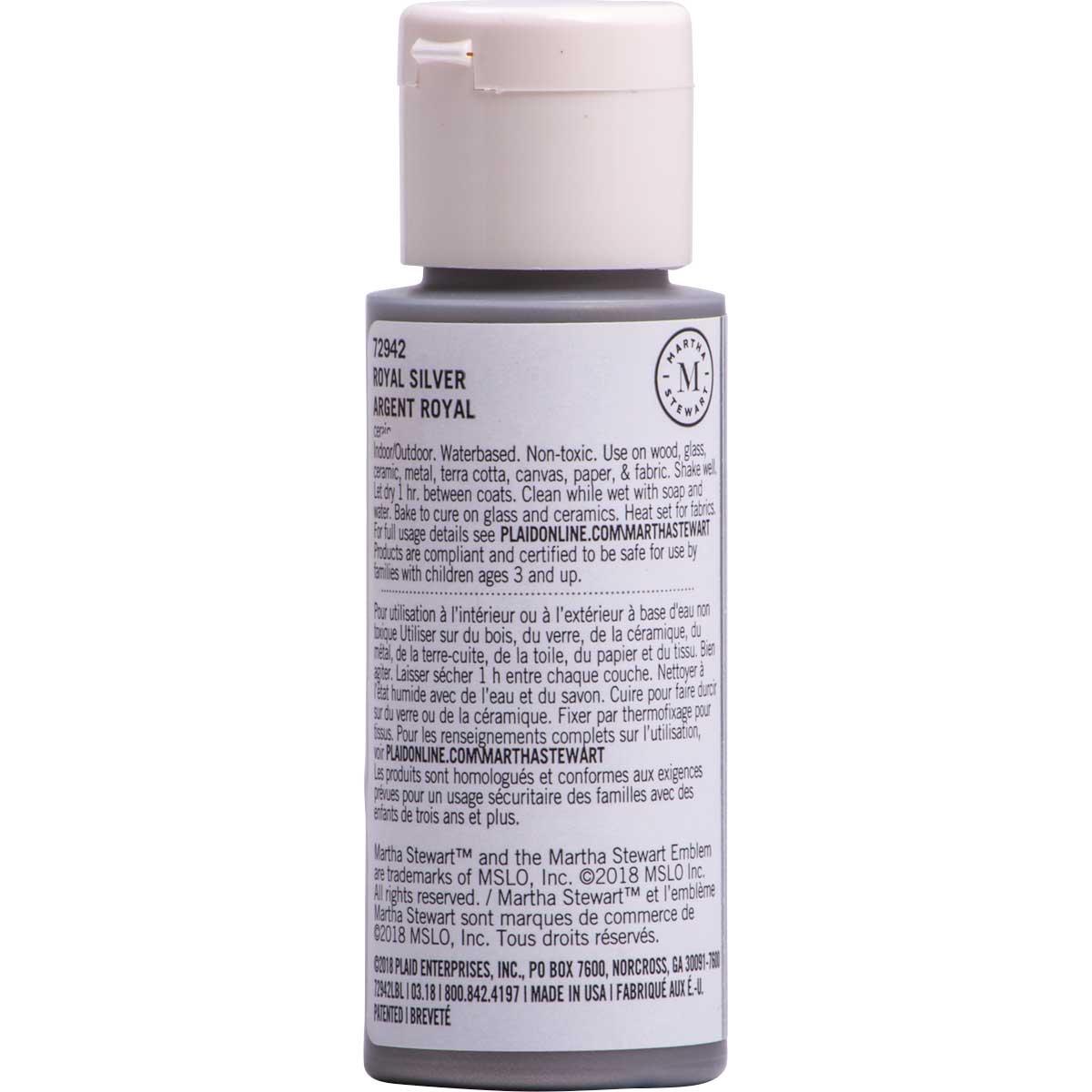 Martha Stewart ® Multi-Surface Metallic Acrylic Craft Paint CPSIA - Royal Silver, 2 oz. - 72942