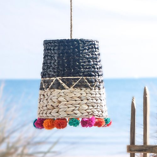 Black & White Wicker Hanging Lamp