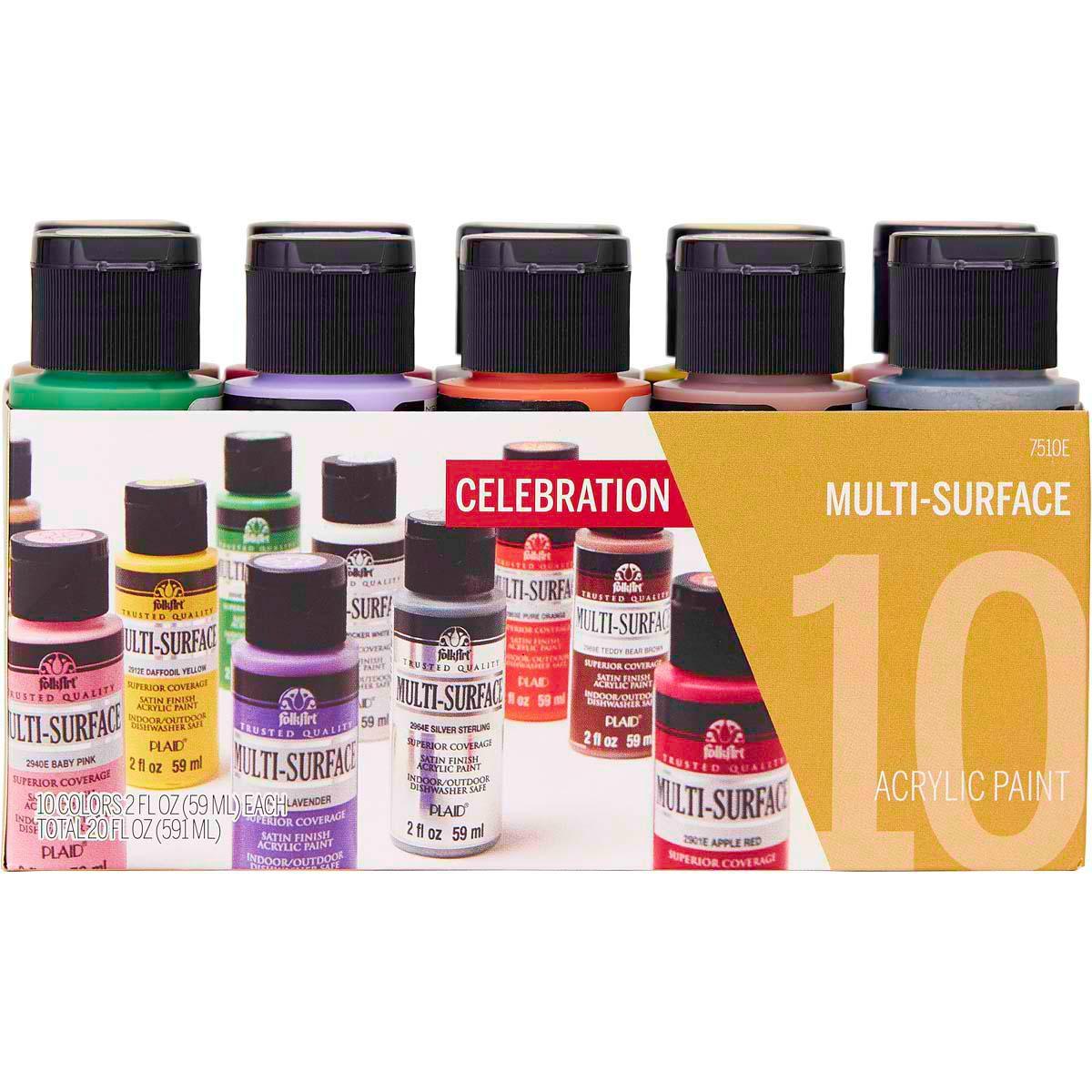 FolkArt ® Multi-Surface Satin Acrylic Paint 10 Color Set - Celebrations - 7510