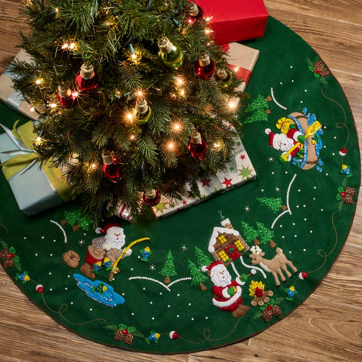 Bucilla ® Seasonal - Felt - Tree Skirt Kits - Lodge Santa