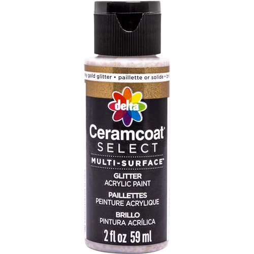 Delta Ceramcoat ® Select Multi-Surface Acrylic Paint - Glitter - Chunky Gold, 2 oz.
