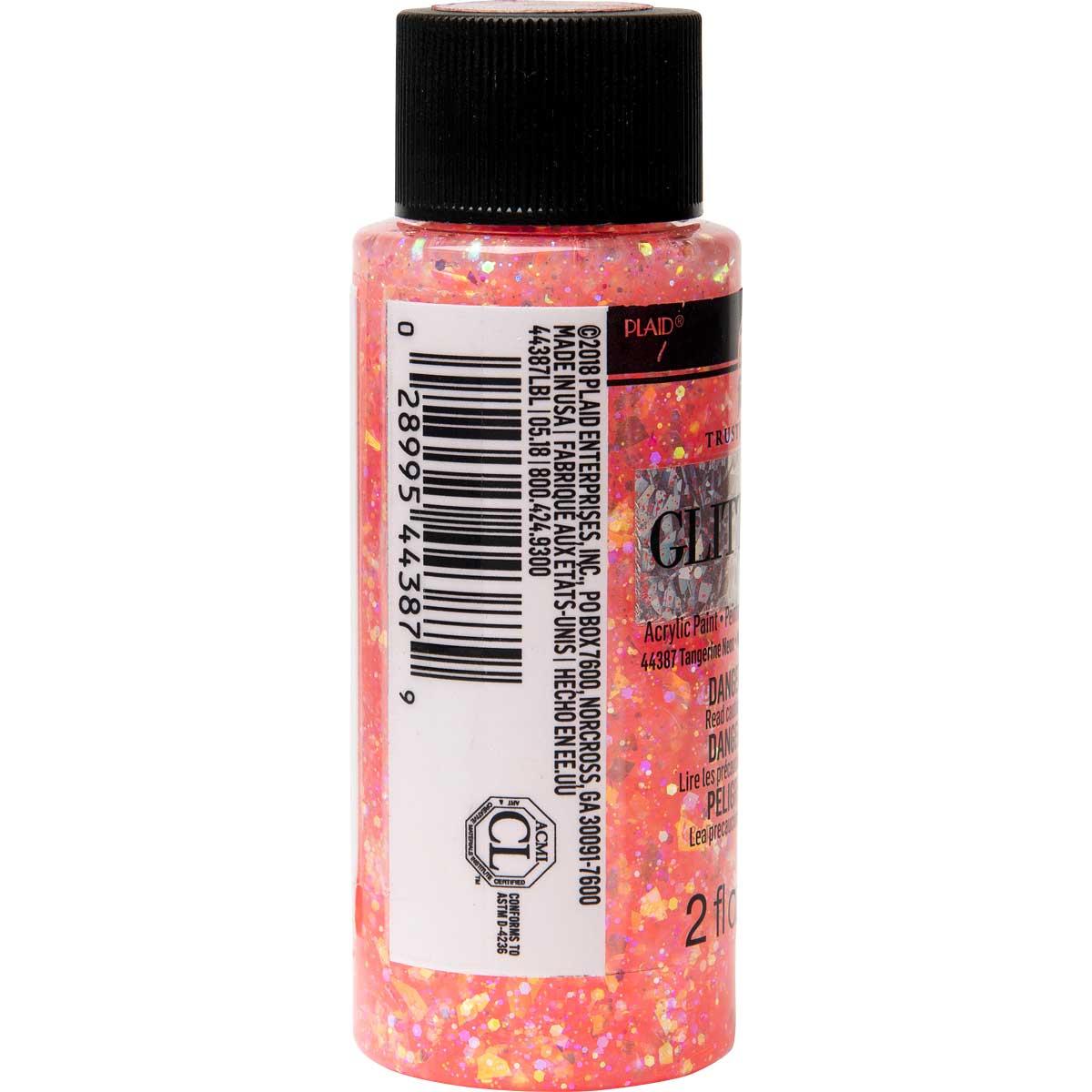 FolkArt ® Glitterific™ Acrylic Paint - Neon Tangerine, 2 oz.
