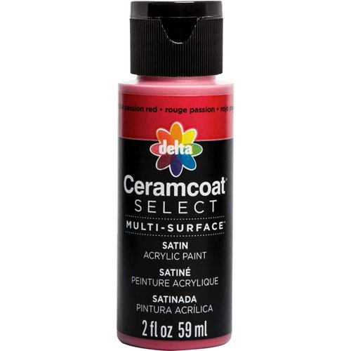 Delta Ceramcoat ® Select Multi-Surface Acrylic Paint - Satin - Passion Red, 2 oz.