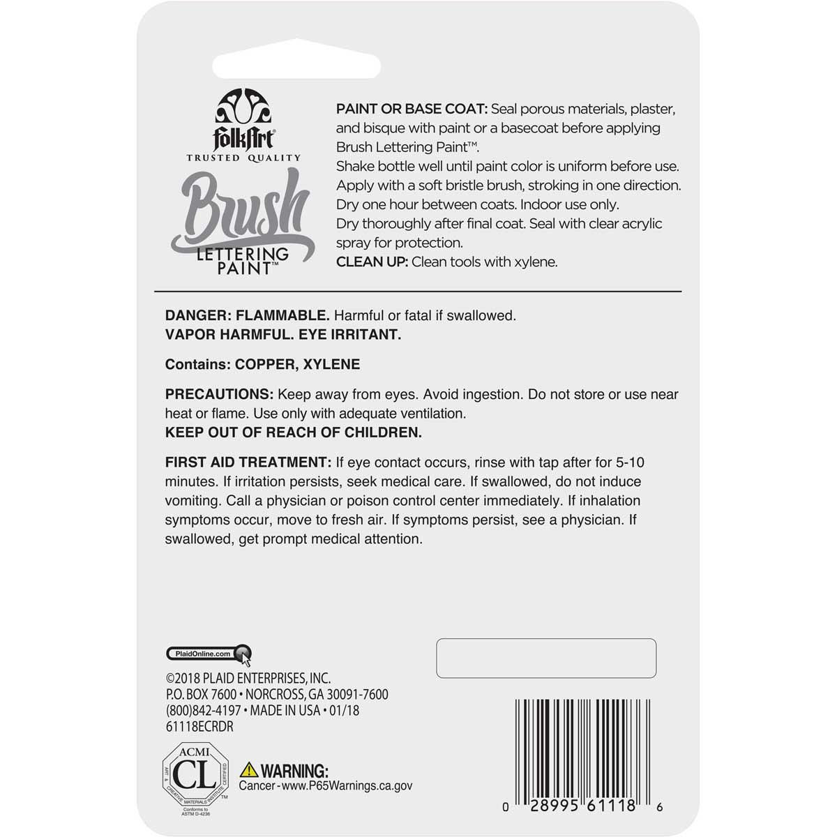 FolkArt ® Brush Lettering Paint - Gilded Gold, 1 oz.