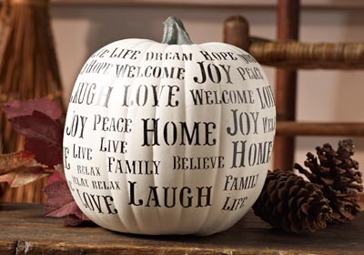 "Stenciled ""Happy Words"" Pumpkin Decor"