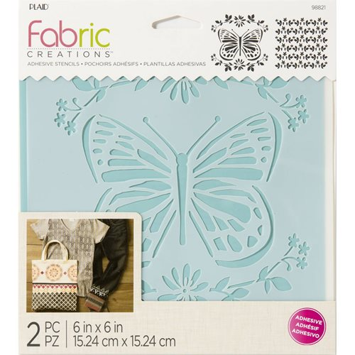 "Fabric Creations™ Adhesive Stencils - Butterfly, 6"" x 6"" - 98821"