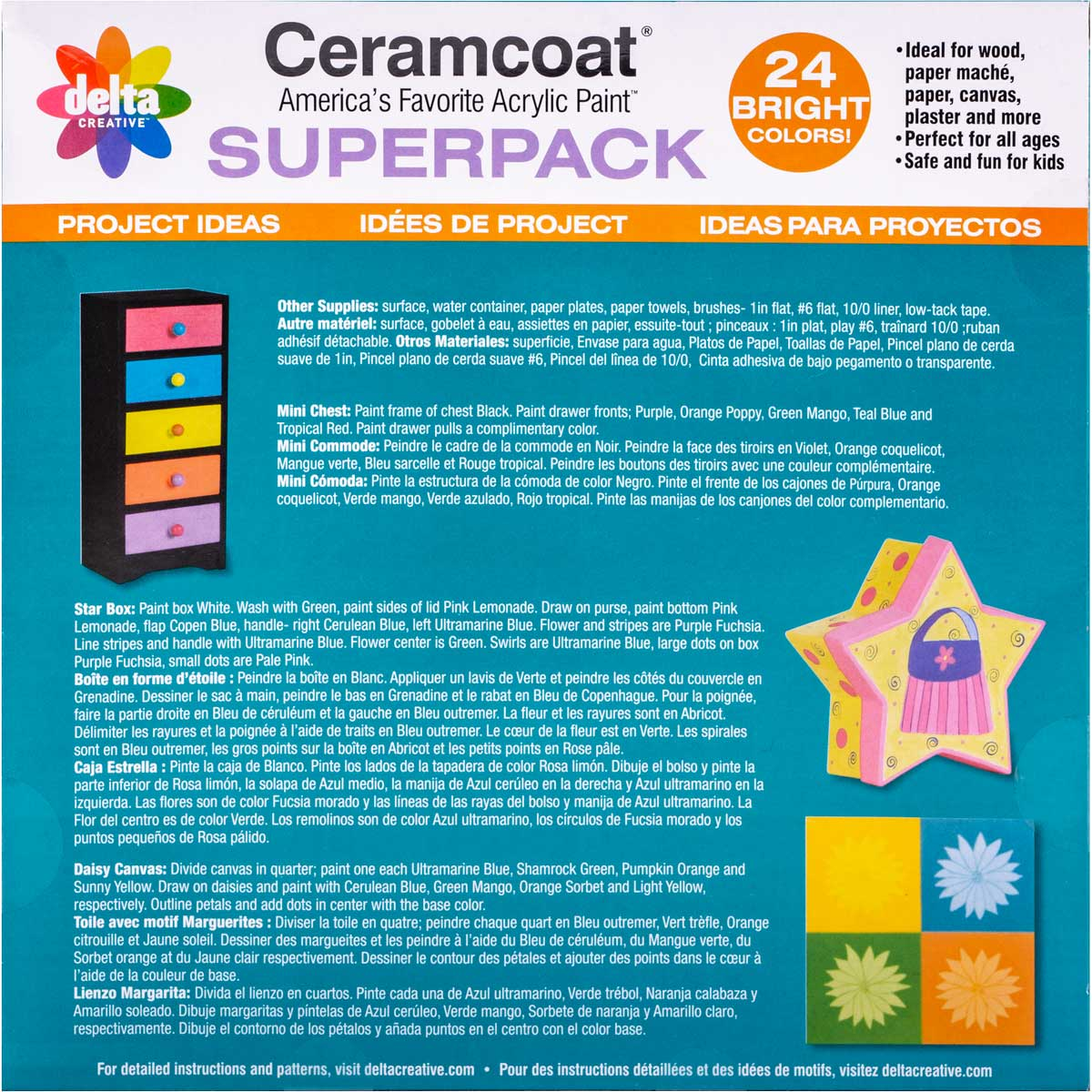 Delta Ceramcoat ® Paint Superpack Set - Brights, 24 Colors - 028870056