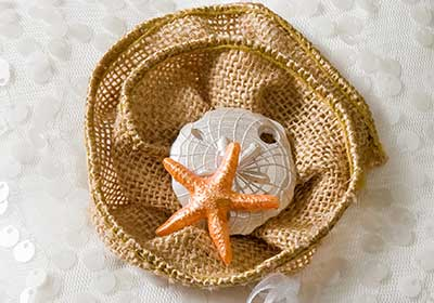 Burlap Flower Ring Pillow for a Beach Wedding