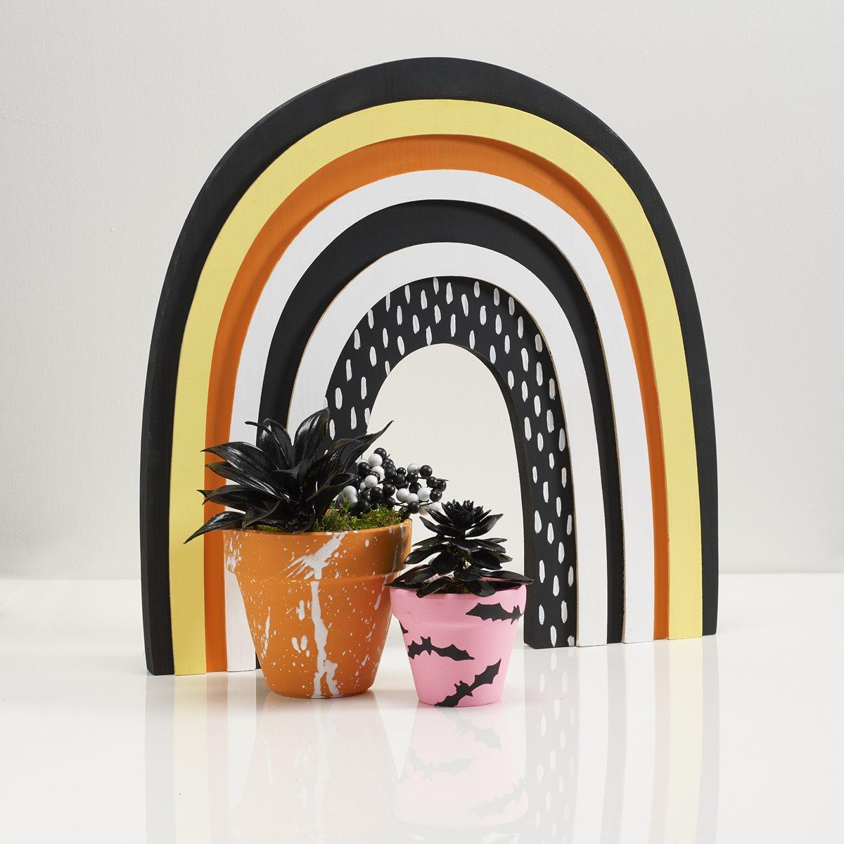 Delta Ceramcoat Rainbow Sign & Clay Pots