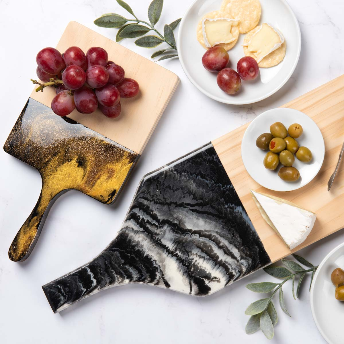Long Black and White Resin Cutting Board