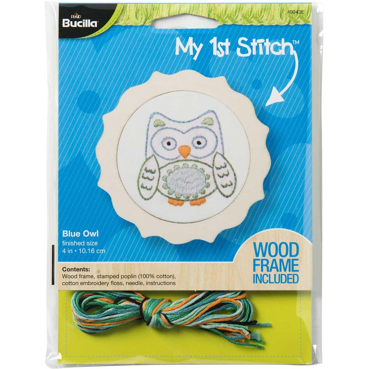 Bucilla ® My 1st Stitch™ - Stamped Embroidery Kits - Blue Owl - 49043E