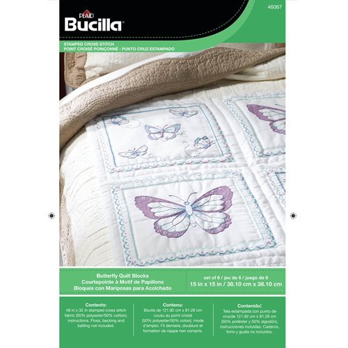 Bucilla ® Stamped Cross Stitch - Quilt Blocks - Butterfly