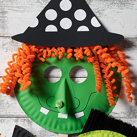 Witch Paper Plate Mask for Halloween