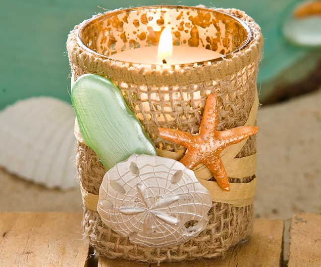 beach wedding shell and burlap votive candles project plaid online