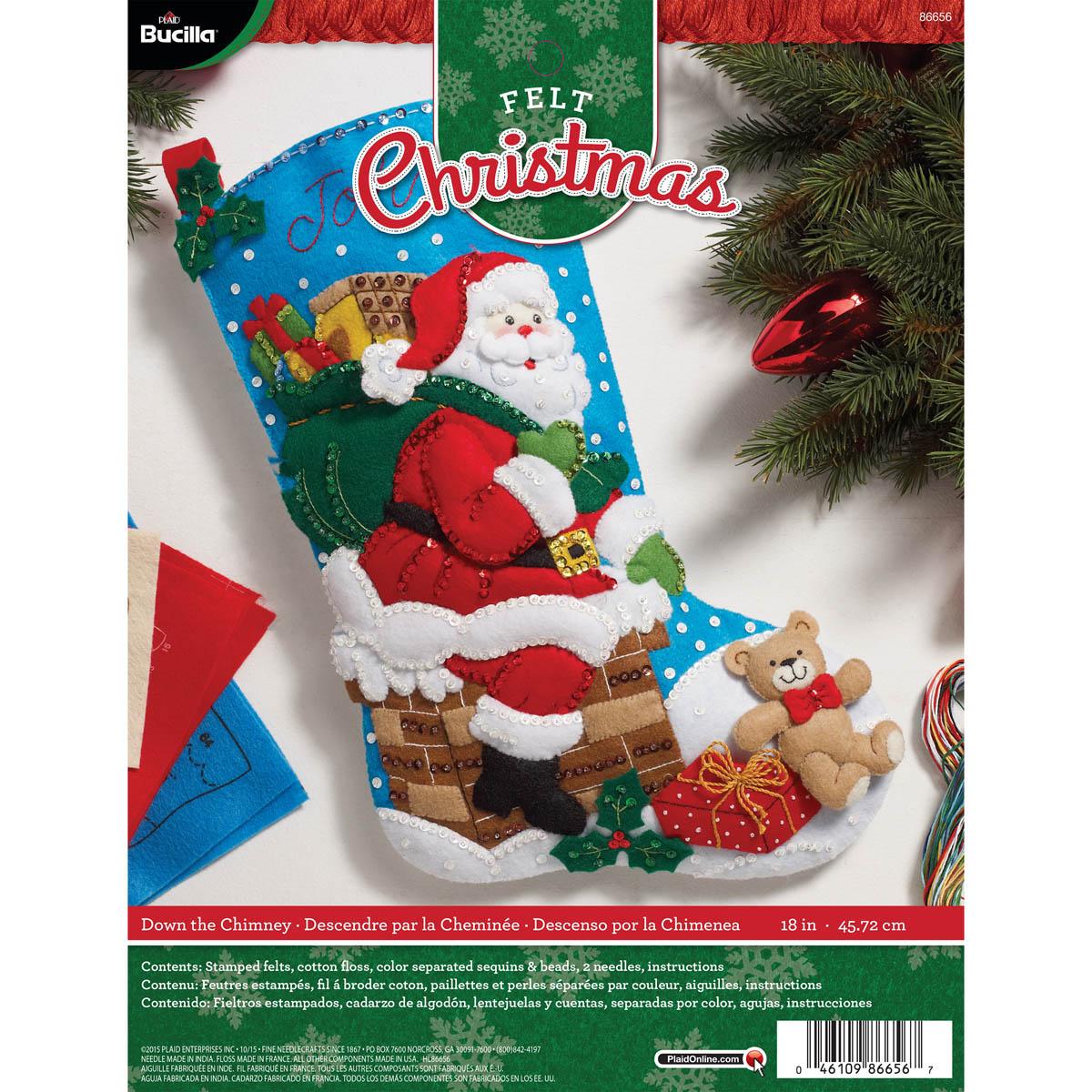 """Bucilla 18/"""" Felt Christmas Stocking Kit Snowman /& Puppies"""