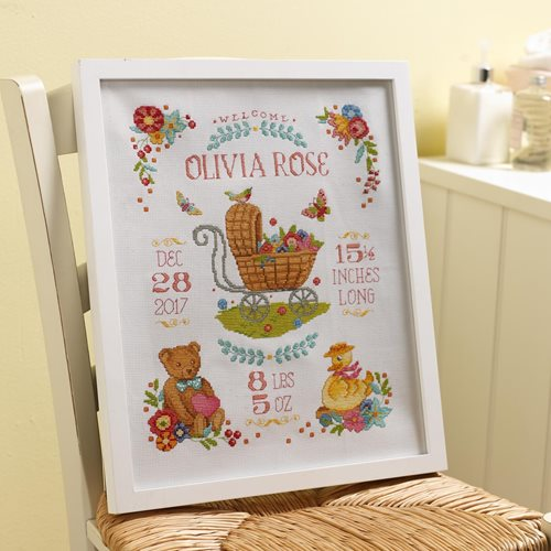 Bucilla ® Baby - Counted Cross Stitch - Crib Ensembles - Sweet Baby - Birth Record Kit