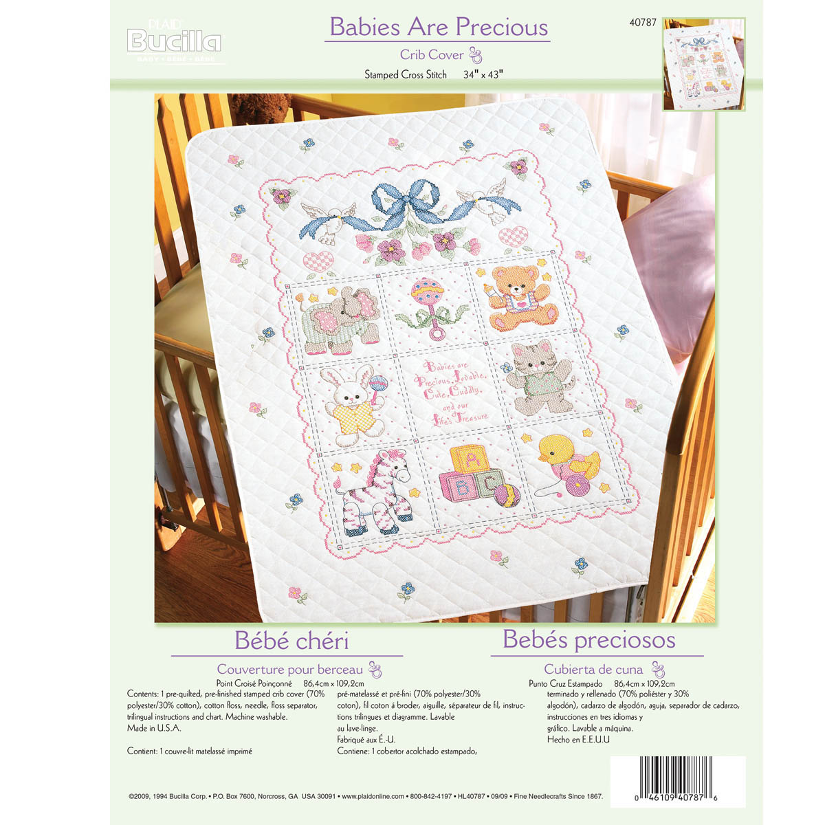 Bucilla ® Baby - Stamped Cross Stitch - Crib Ensembles - Babies Are Precious - Crib Cover Kit - 4078