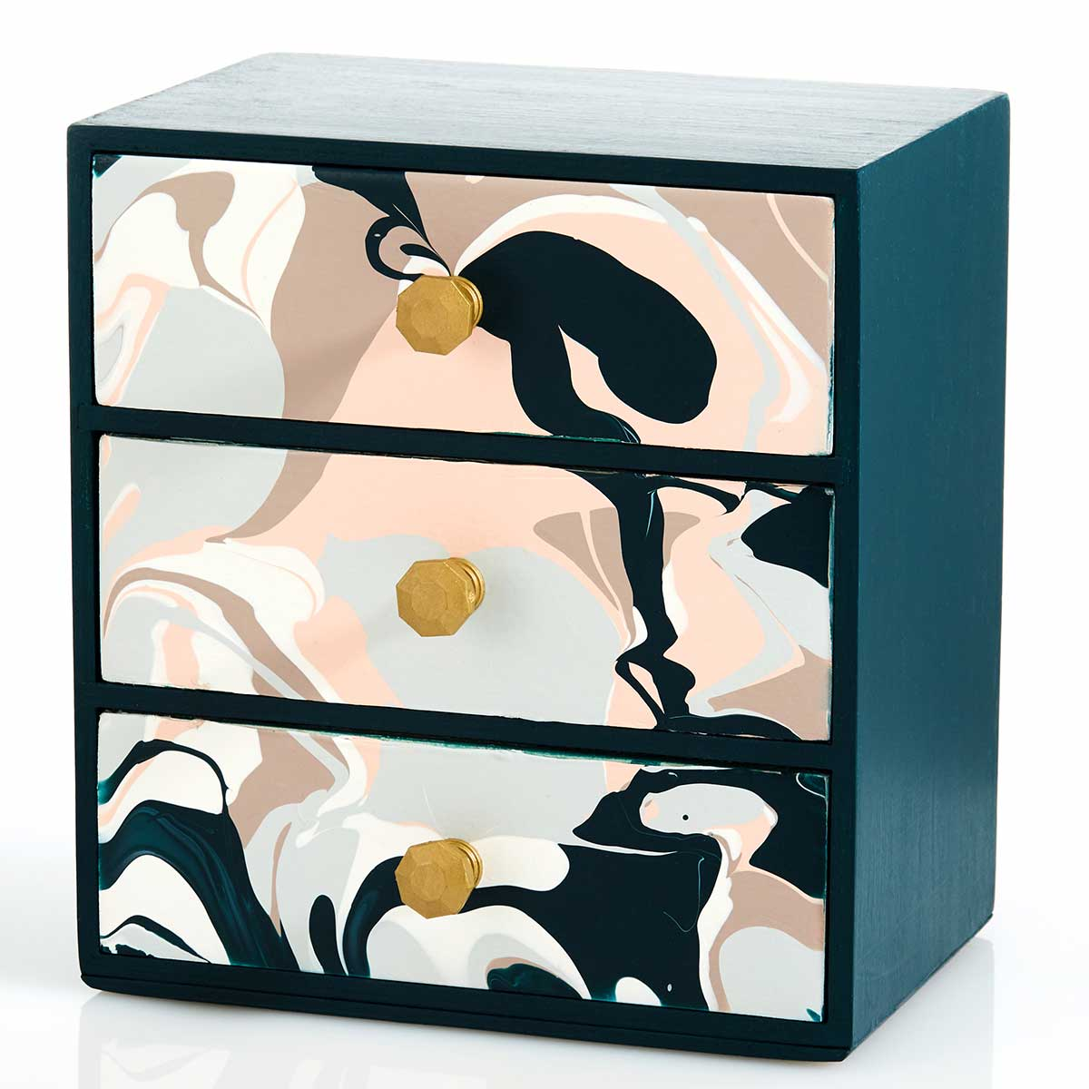DIY Poured Abstract Art Chest of Drawers