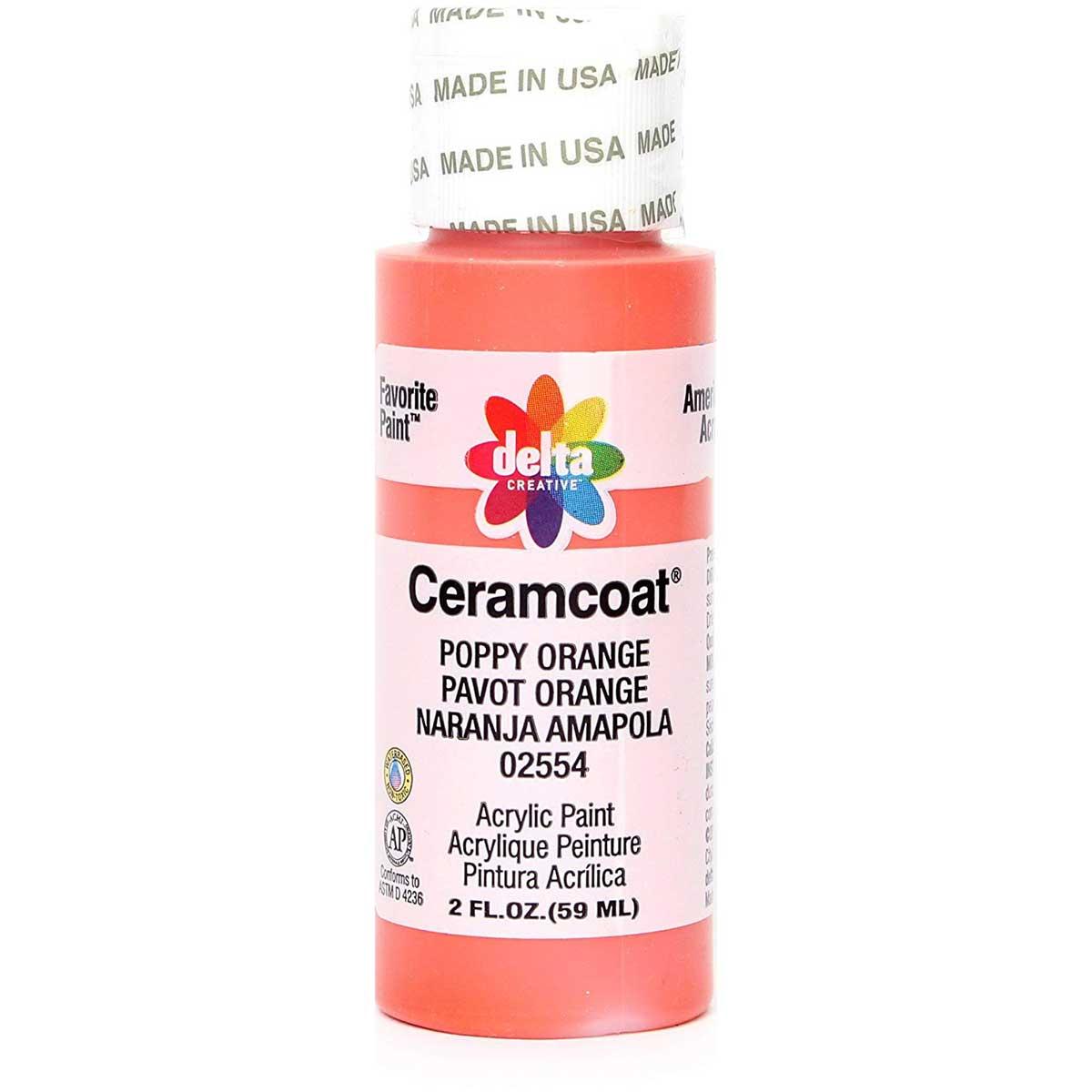 Delta Ceramcoat ® Acrylic Paint - Poppy Orange, 2 oz. - 025540202W