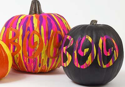 Black BOO Pumpkin and Fluorescent Dripped Pumpkin