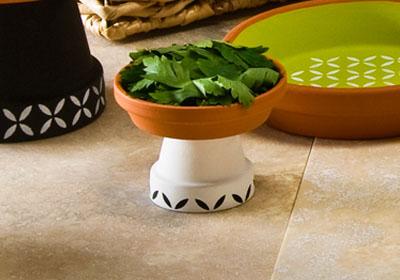 Stenciled Small Bohemian Clay Pedestal