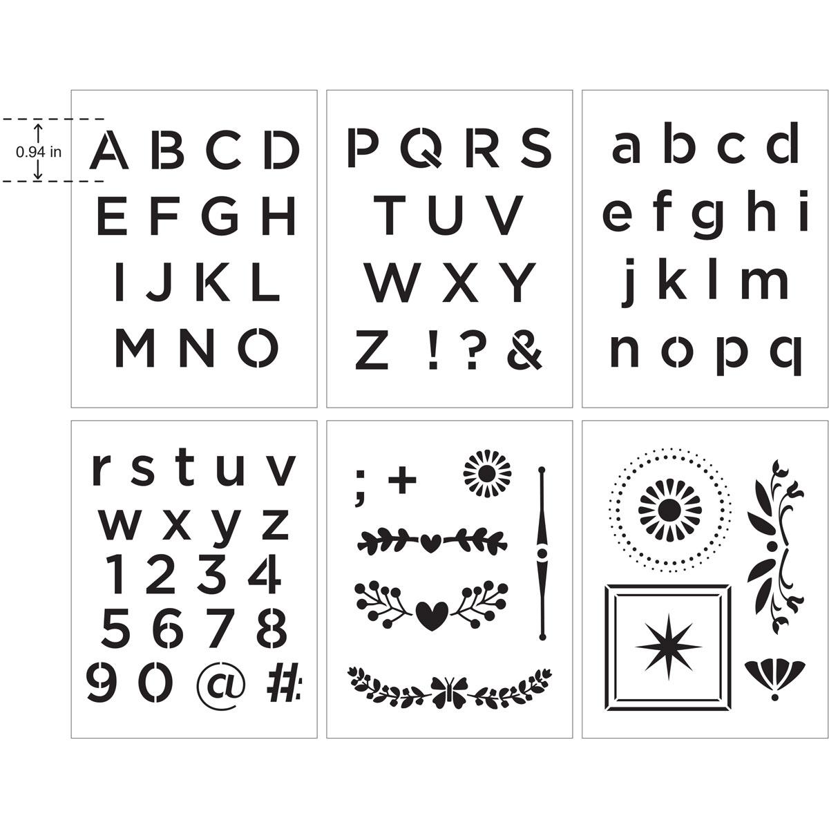 Delta Creative™ Stencil - Alphabet Sans Serif - 04833