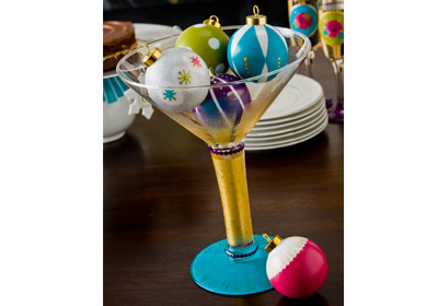 Martini Glass and Ornaments Centerpiece