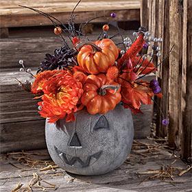 Halloween Pumpkin Idea - Concrete Pumpkin Centerpiece