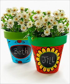 Chalkboard Paint Clay Pots
