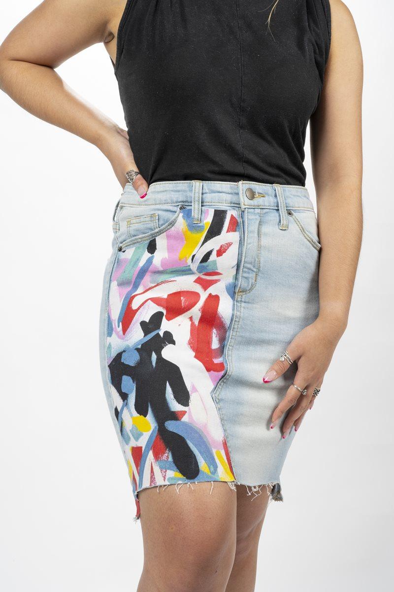 Graffiti Denim Skirt