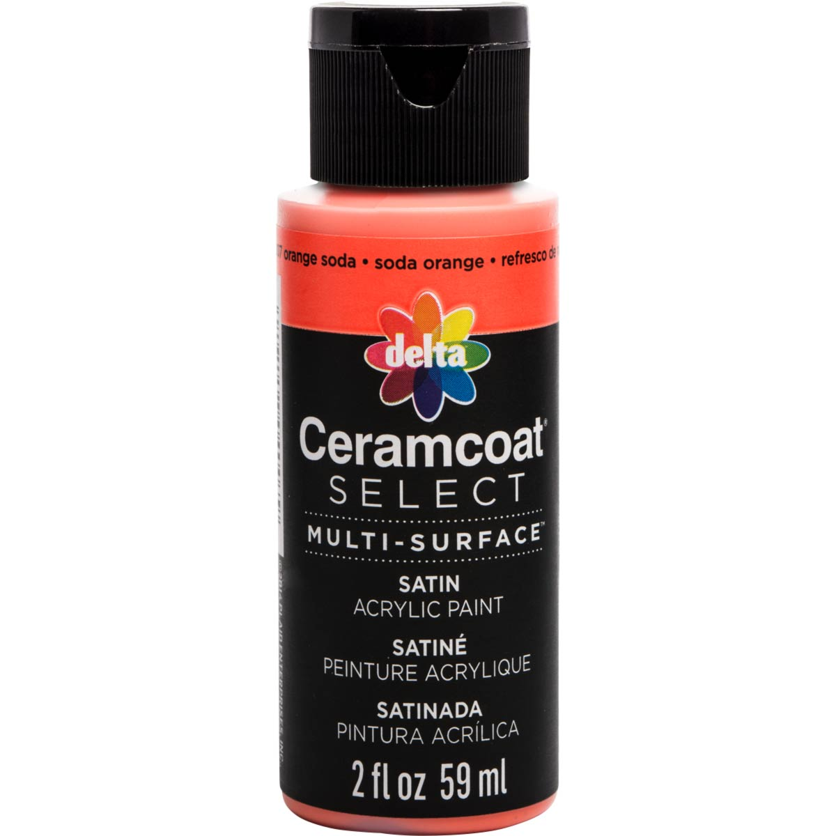 Delta Ceramcoat ® Select Multi-Surface Acrylic Paint - Satin - Orange Soda, 2 oz.